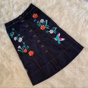 Kate Spade Brooke Street Hummingbird Denim Skirt 8